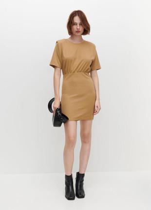 Новое бежевое платье с плечиками по фигурке , размер xs, с, м