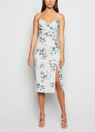 New look платье по фигуре карандаш футляр миди серое на бретельках с вырезов принт цветы