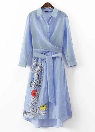 Платье накидка в полоску вискоза zara