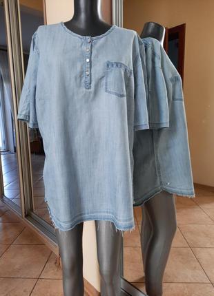 Джинсовая рубашка 👕большого размера