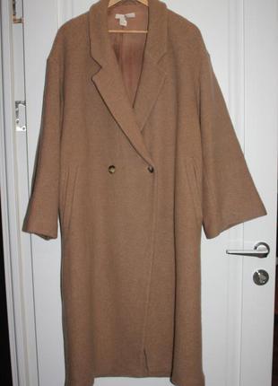 Шикарное шерстяное пальто оверсайз цвета кэмел от h&m размер на 50-52