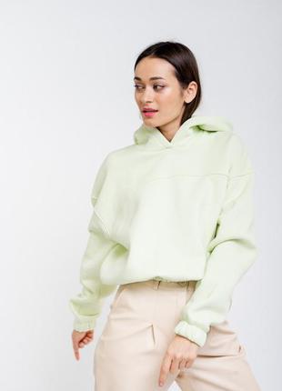Свитшот 44 размера , зеленый свитшот , короткий худи