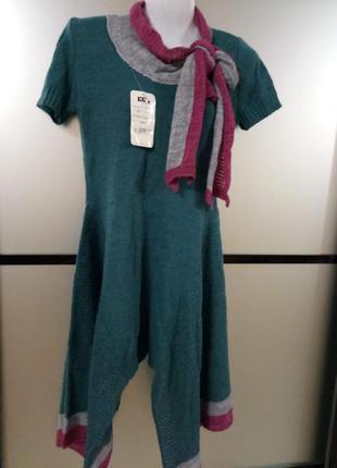 Вязаное изумрудное тёплое платье/туника асимметричное