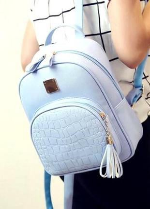 Женский базовый мини рюкзак экокожа премиум aliri-00233 голубой