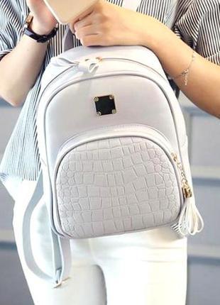 Женский базовый мини рюкзак экокожа премиум aliri-00234 серый