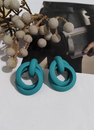 Тренд новые серьги пусеты узелки голубые зеленые сережки кульчики нові