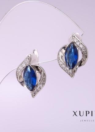 Серьги xuping с синим камнем родий