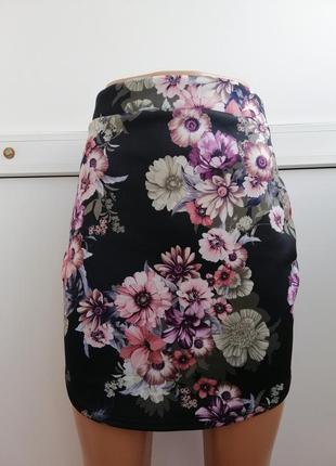 Юбка женская короткая цветочный принт