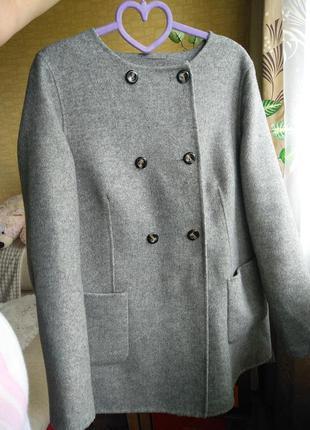 Шерстяное пальто marks& spencer без подклада р.48 на пуговицах