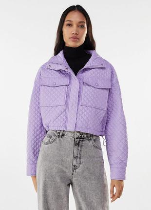 Сиреневая стёганная куртка