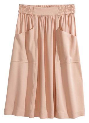 Трендовая юбка с карманами h&m пудровая