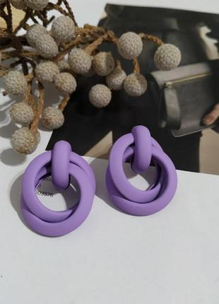 Классные новые сережки пусеты узелки лиловые серьги фиолетовые кульчики пусети лілові