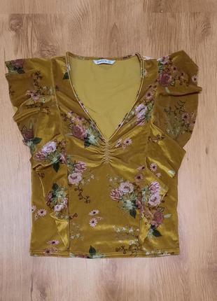 Блуза ретро велюр stradivarius размер s-m