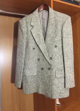 Винтажный двубортный пиджак жакет пиджак блейзер серый винтаж оверсайз