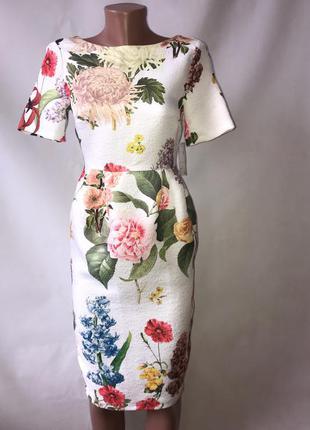 Шикарное элегантное платье с крупными цветами