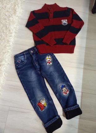 Зимние джинсы и свитер