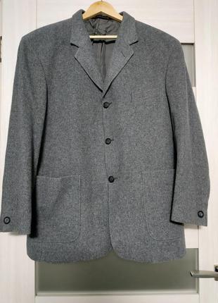 Пальто короткое серое шерсть оверсайз пог 62