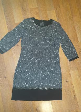 Платье люкс теплое по фигуре шерстяное серое