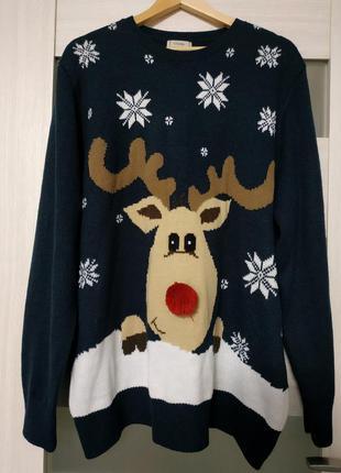 Новогодний свитер с оленем синий праздничный большой размер george