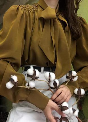 Блузка франция сорочка с бантом винтаж вінтажна рукава