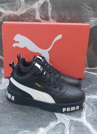 Подростковые зимние кроссовки puma cali winter кожаные, черные