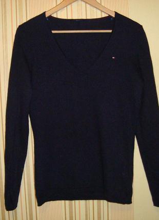 Тонкий трикотажный свитер из шерсти и хлопка tommy hilfiger