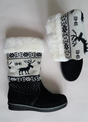 Сапоги зимние с густым мехом с норвежским  орнаментом