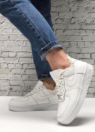 ❄️ зимние женские, мужские кроссовки на меху nike air force 1 low white