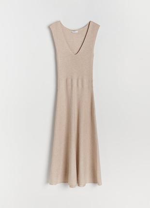 Трикотажное платье из трикотажа в рубчик миди макси плаття трикотажна сукня бежевое бежева