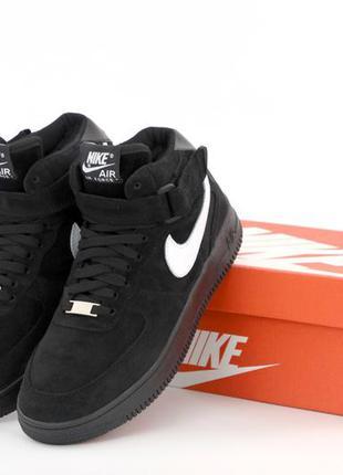 ❄️ зимние мужские кроссовки на меху nike air force 1 black