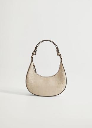 Женская светлая сумка сумочка багет крокодил манго mango