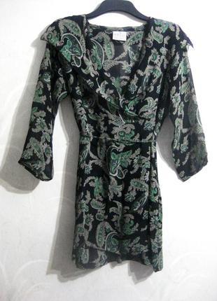 Платье masai шифоновое чёрно-зелёный цветочный принт