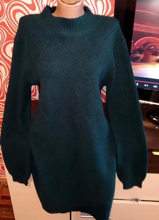 Стильной тёплое платье /свитер,миди,по фигуре, зимнее