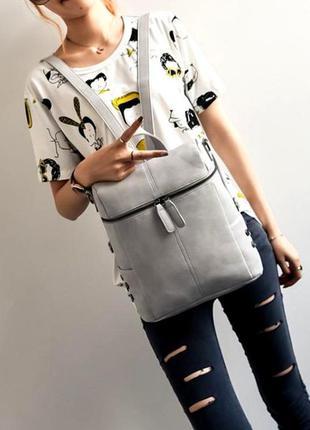 Вместительная женская городская сумка-рюкзак трансформер aliri-00242 серый