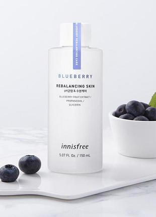 Тонер с экстрактом голубики innisfree blueberry rebalancing skin