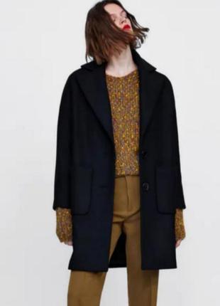 Zara трендовое пальто оверсайз, пальто прямого кроя с накладными карманами, курточка, куртка оверсайз