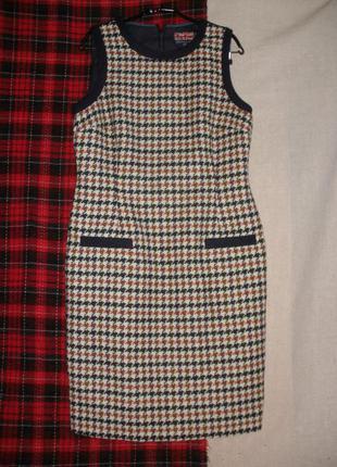 Натуральной шерсти теплый сарафан стильное платье гусиная  лапка