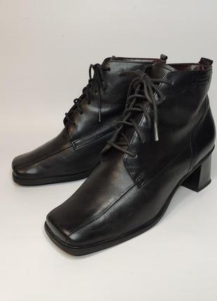 Tamaris демисезонные кожаные ботинки с квадратным носком