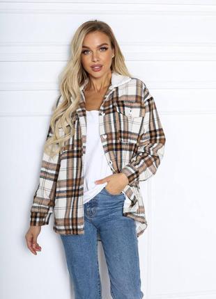 Рубашка теплая, с подкладкой, клетка куртка