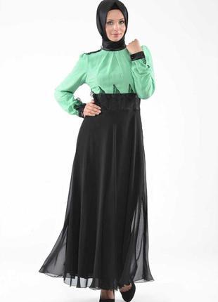 Красивое длинное платье aramiss fashion чёрное бирюзовое