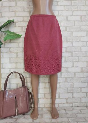 Фирменная monsoon юбка миди на 65%шелк и 35% лен в розовом цвете с вышивкой, размер л-хл