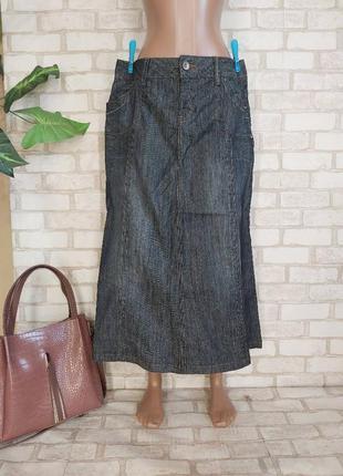 Фирменная yessica стильная джинсовая юбка миди в темно синем цвете, размер хл