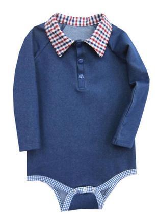 More kids / стильна боді - сорочка , бодік, сорочка - поло / 80-86-92 / джинсовий трикотаж .