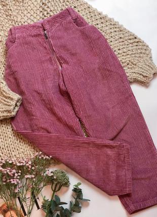 Крутые укороченные вельветовые брюки