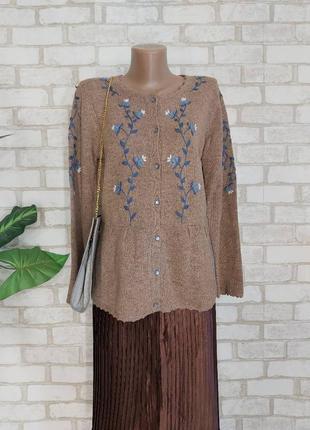 Новая симпатичная кофта/свитер со 100 % шерсти в цвете беж с вышивкой, размер м-л