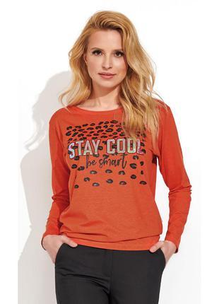 Блузка трикотажная с принтом длинный рукав zaps simza 053 оранжевая