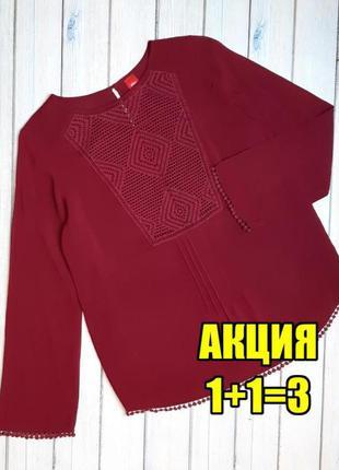 💥1+1=3 нарядная фирменная блуза блузка бордо марсала s.oliver вышиванка, размер 46 - 48