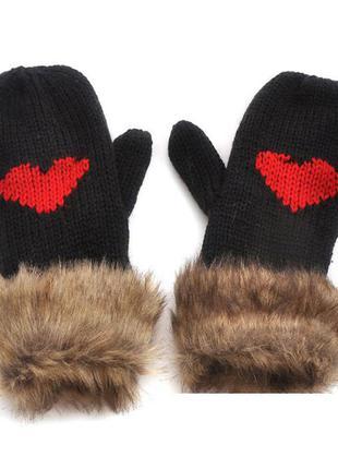 7-63 в'язані рукавички вязаные варежки