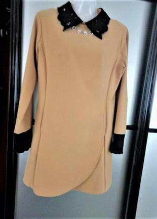 Невероятное классическое мини платье горчичное с чёрным воротником s-m