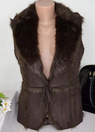 Брендовая коричневая жилетка на меху marks&spencer акрил этикетка